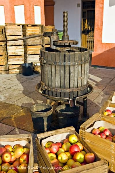 Stock photo of Apple press at markets in Plaza de la Corredera City of Cordoba Province of Cordoba Andalusia