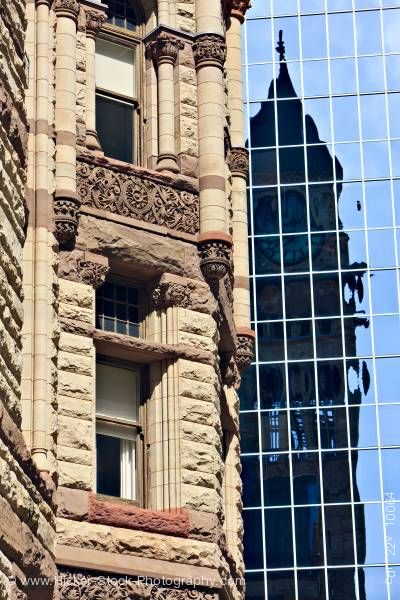 Stock photo of Old City Hall Beside Modern Glass Building Toronto Ontario Canada