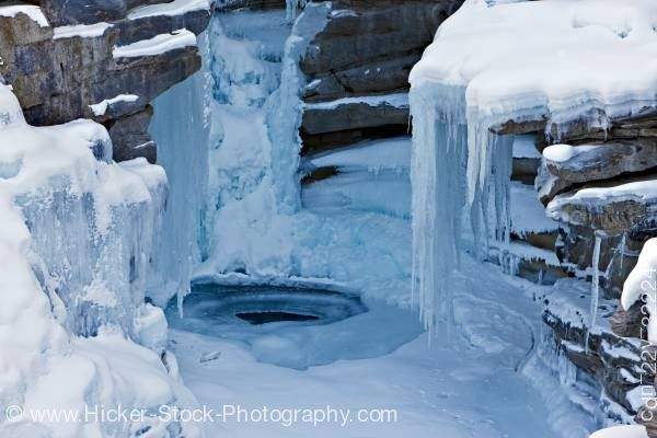 Stock photo of Frozen Athabasca Falls Jasper National Park Canadian Rocky Mountains Alberta Canada