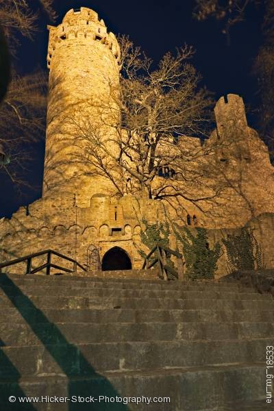 Stock photo of Illuminated tower of Schloss Castle Auerbach Germany