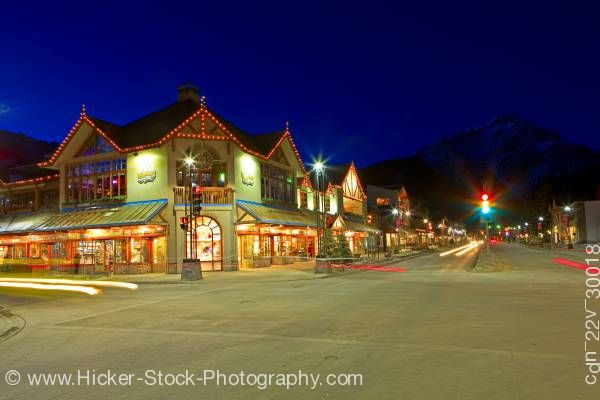 Stock photo of Banff Avenue and Caribou Street Cascade Mountain Banff National Park Canadian Rockies Alberta Canada