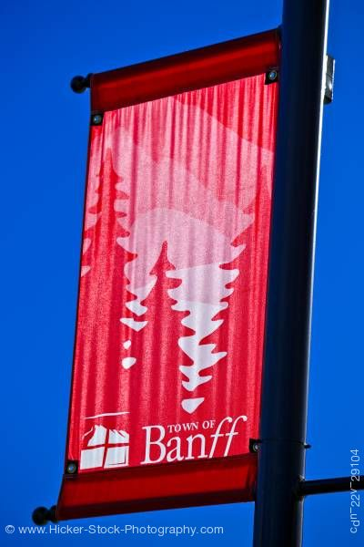 Stock photo of Red banner sign Banff Avenue Banff Alberta