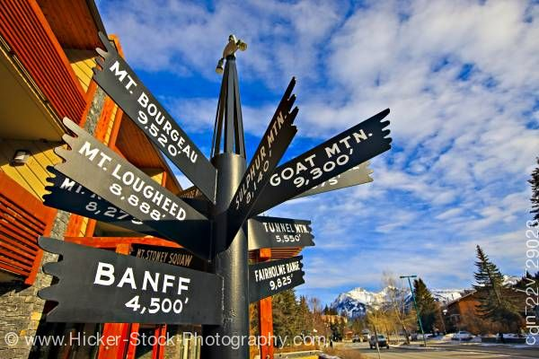 Stock photo of Multi directional sign post Banff National Park Alberta Canada