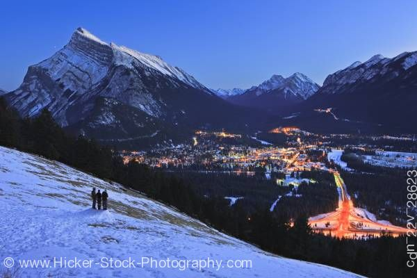 Stock photo of Banff Aerial View Dusk Norquay Meadow Mount Norquay Road Winter Mount Rundle Alberta Canada