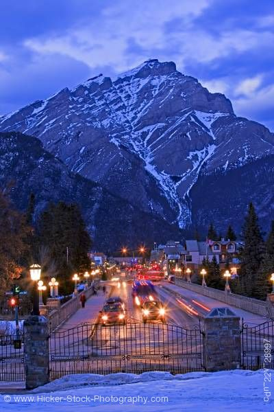 Stock photo of Banff Avenue Cascade Mountain Night Banff National Park Canadian Rocky Mountains Alberta Canada