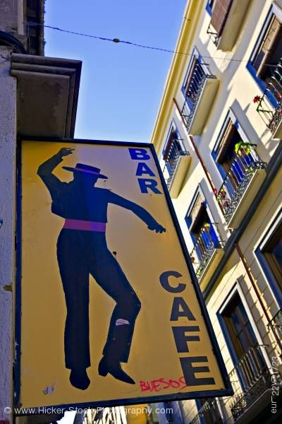 Stock photo of Bar/Cafe sign along Calle San Jeronimo City of Granada Province of Granada Andalusia Spain