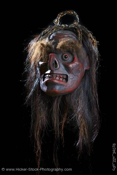 Stock photo of Native Mask Beau Dick Kwakwaka'wakw First Nations Artist Vancouver Island British Columbia Canada