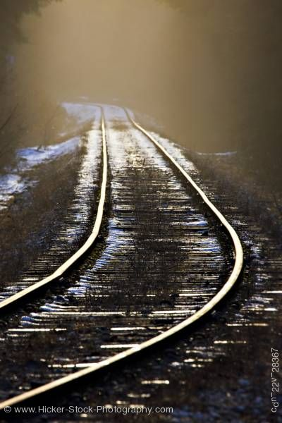 Stock photo of Railroad tracks snow Beaver Cove Northern Vancouver Island Vancouver Island British Columbia Canada