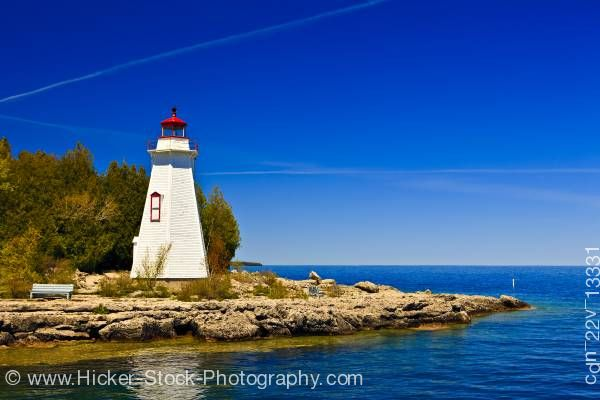 Stock photo of Big Tub Lighthouse (1885) at Lighthouse Point near Tobermory Big Tub Harbour Lake Huron Ontario