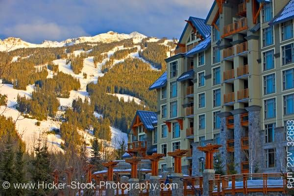 Stock photo of Blackcomb Mountain Pan Pacific Hotel Village Stroll Whistler Village British Columbia Canada