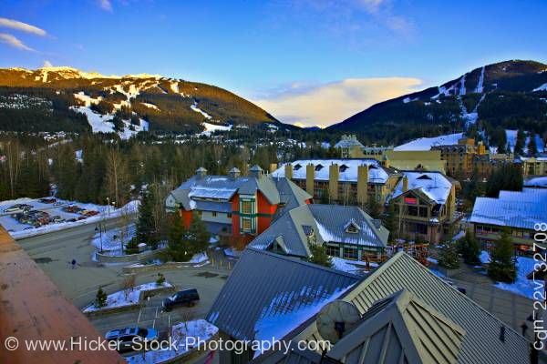 Stock photo of Blackcomb and Whistler Mountains Pan Pacific Hotel Whistler Village British Columbia Canada