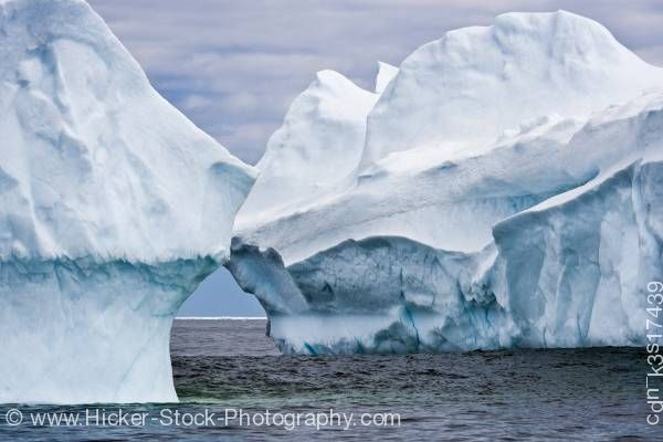 Stock photo of Blue Large Icebergs off Newfoundland Coast Canada