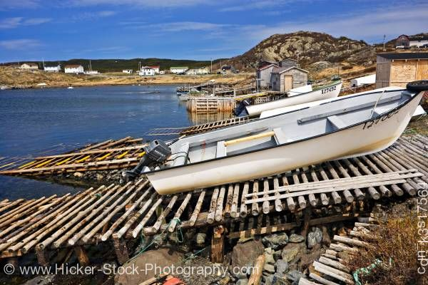 Stock photo of Boats St Lunaire-Griquet Harbour Northern Peninsula Newfoundland Canada
