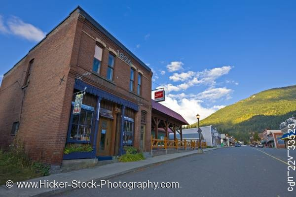 Stock photo of Old brick building town Kaslo Central Kootenay British Columbia Canada