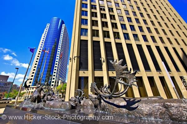Stock photo of Bronze caribou sculpture Richardson Building City of Winnipeg Manitoba Canada