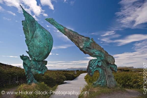 Stock photo of Bronze sculpture L'Anse aux Meadows National Historic Site of Canada Newfoundland
