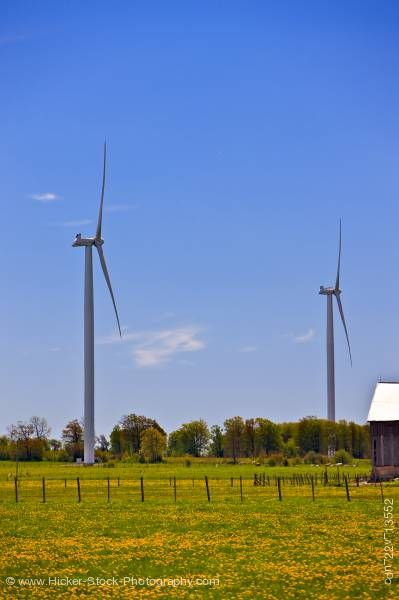Stock photo of Two windmills alternative energy Bruce Peninsula Ontario Canada
