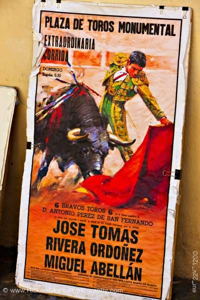 Stock photo of Bull fighting poster Granada Andalusia Spain