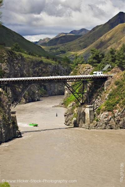 Stock photo of Bungee jumper Waiau Ferry Bridge Waiau River Thrill Seekers Canyon Hanmer Springs South Island