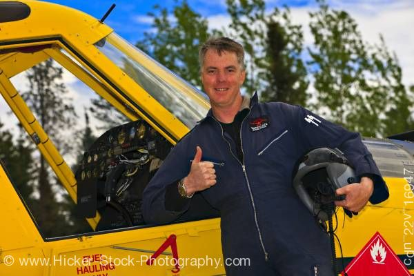 Stock photo of Pilot Guy Cannon with Air Tractor AT 802 at Red Lake Ontario Canada