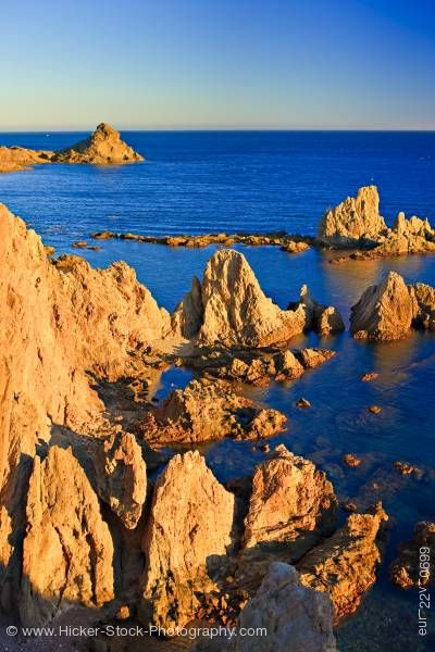 Stock photo of Volcanic rock coastline Cabo de Gata Costa de Almeria Province of Almeria Andalusia Spain Europe