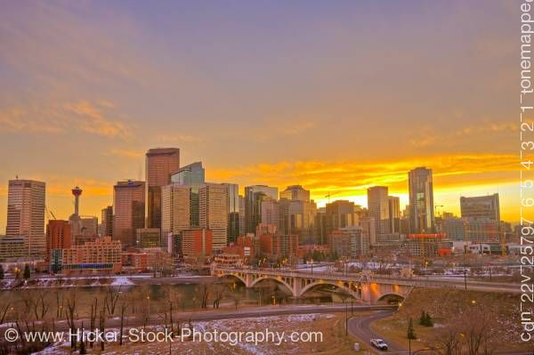 Stock photo of View at Calgary Skyline at sunset with Centre Street Bridge Alberta