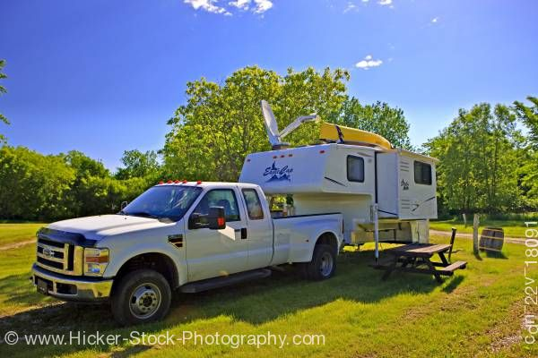 Stock photo of Camper at the Conestoga Campground City of Winnipeg Manitoba Canada