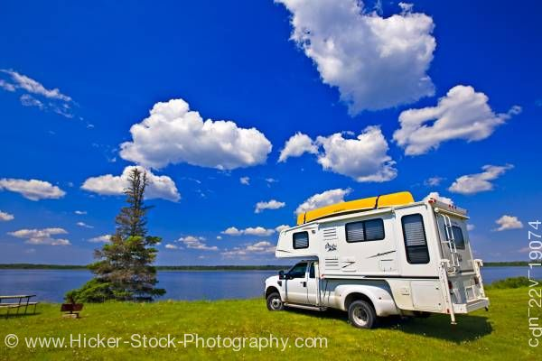 Stock photo of Camper Lake Audy Campground in Riding Mountain National Park Manitoba Canada