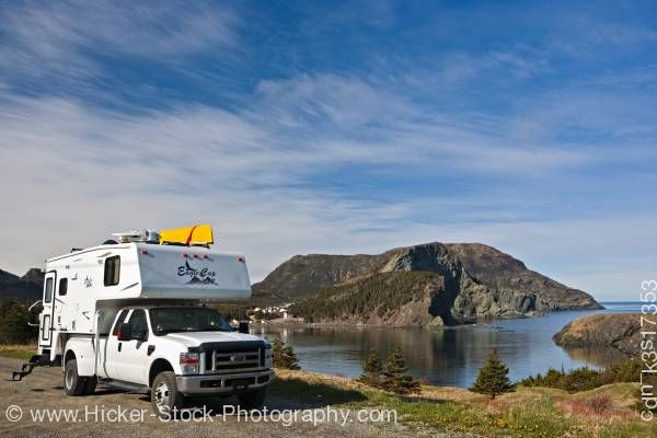 Stock photo of White camper Bottle Cove Humber Arm Lake Harbour Newfoundland Canada
