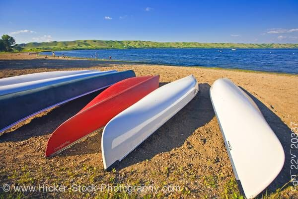 Stock photo of Canoes beach Echo Lake in Echo Valley Provincial Park Qu'Appelle Valley Saskatchewan Canada