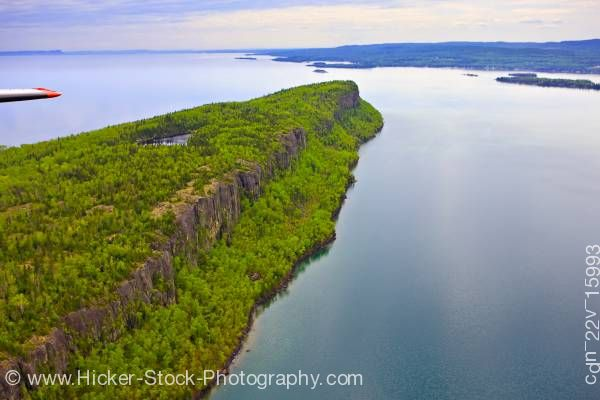 Stock photo of Aerial View Caribou Island Cliffs Lake Superior Ontario Canada