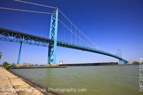 Stock photo of Large bulk carrier ship Ambassador Bridge Detroit River Windsor Ontario