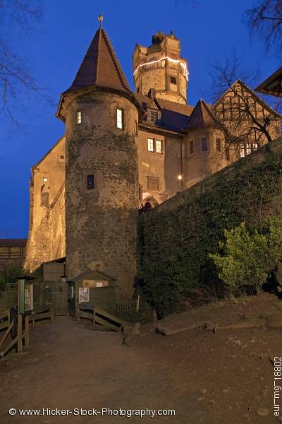 Stock photo of Illuminated Burg Ronneburg castle dusk
