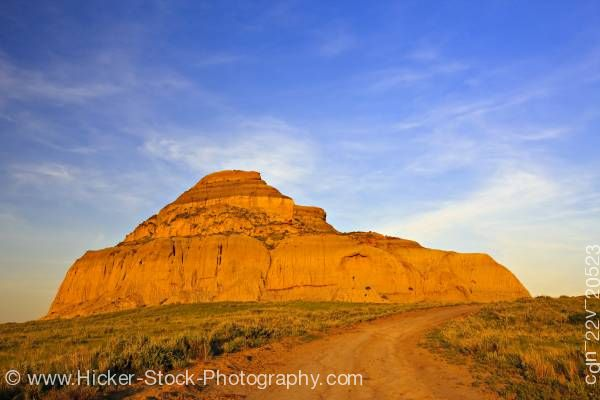 Stock photo of Castle Butte during sunset in the Big Muddy Badlands Southern Saskatchewan Canada