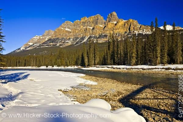 Stock photo of Castle Mountain Bow River Winter Banff National Park Canadian Rocky Mountains Alberta Canada