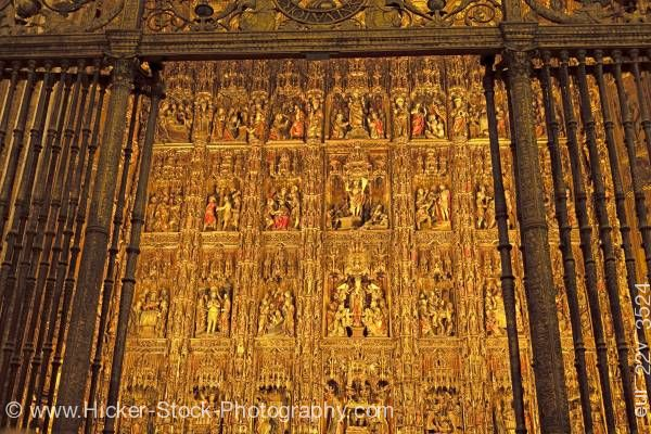 Stock photo of Golden High Altar Seville Cathedral La Giralda Santa Cruz District City of Sevilla