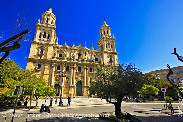 Stock photo of Cathedral of Jaen and Plaza Santa Maria Sagrario District City of Jaen Province of Jaen Andalusia