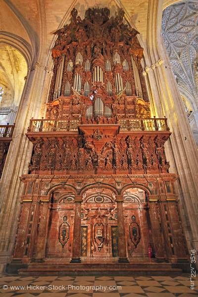 Stock photo of Organ Pipe Seville Cathedral pipe organ Sevilla Spain