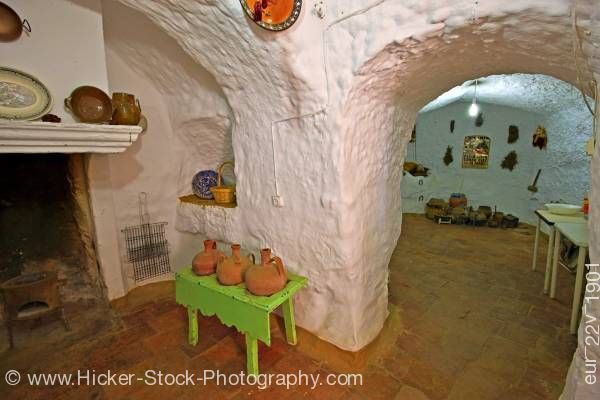 Stock photo of Interior of cave dwelling in town of Guadix Province of Granada Andalusia Spain