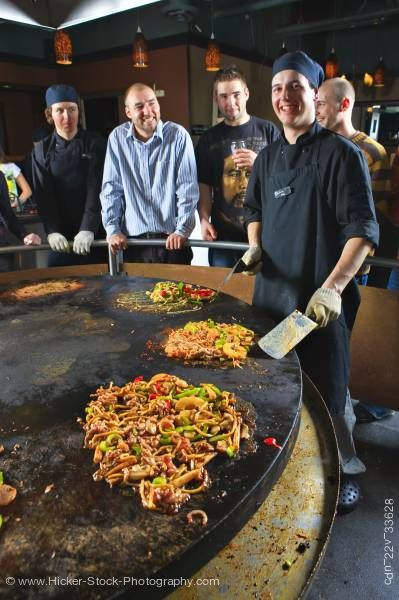 Stock photo of Chef Mongolie Grill World Famous Stirfry Restaurant Whistler Village British Columbia Canada