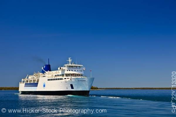Stock photo of Chi-Cheemaun ferry boat Bruce Peninsula for Manitoulin Island in Lake Huron Ontario Canada
