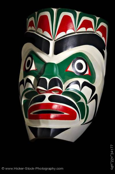 Stock photo of Chief Kumkawa Mask Lumario Johnson First Nations Artist Vancouver Island British Columbia Canada