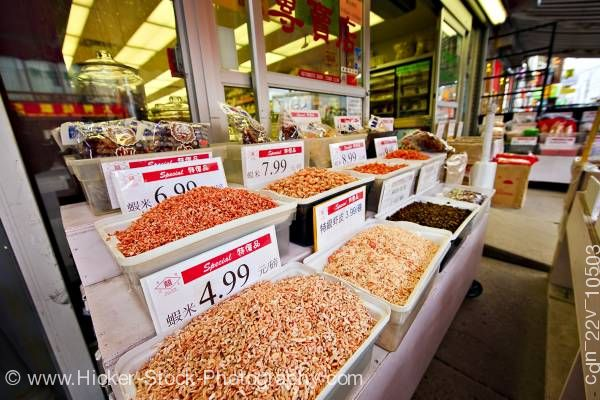 Stock photo of Authentic Chinese Foods Herbs Spices Market Chinatown Toronto Ontario Canada