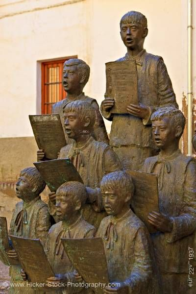 Stock photo of Choir Boys statue Cathedral of Guadix town of Guadix Province of Granada Andalusia Spain Europe
