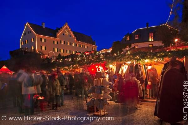 Stock photo of Christmas Markets dusk Hexenagger Castle Hexenagger Bavaria Germany