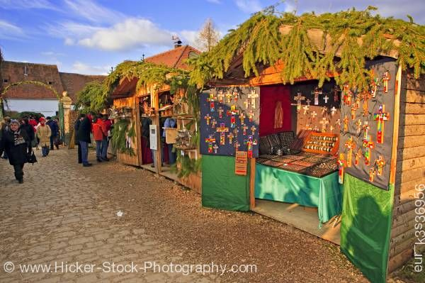 Stock photo of Market Stalls at Christmas Markets at Hexenagger Castle Hexanagger Bavaria Germany Europe
