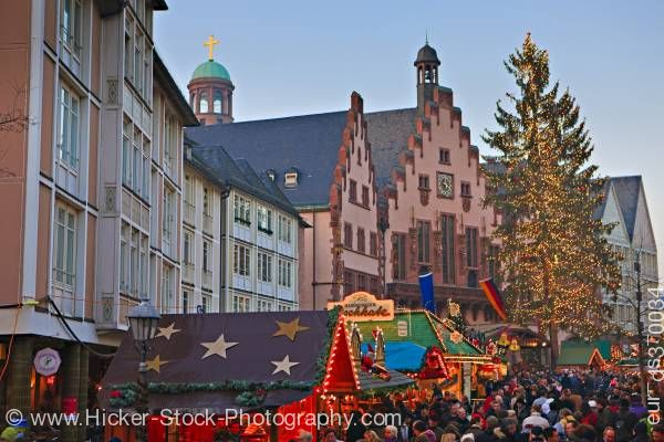 Stock photo of Christmas markets outside the Romer (Town Hall) in the Romerplatz Frankfurt Hessen Germany Europe