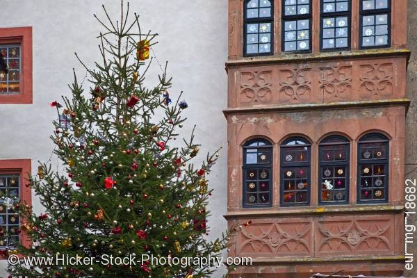 Stock photo of Christmas tree decorated windows building castle Ronneburg