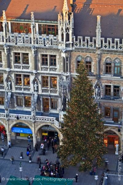 Stock photo of Christmas tree Marienplatz New City Hall City of Munich Bavaria