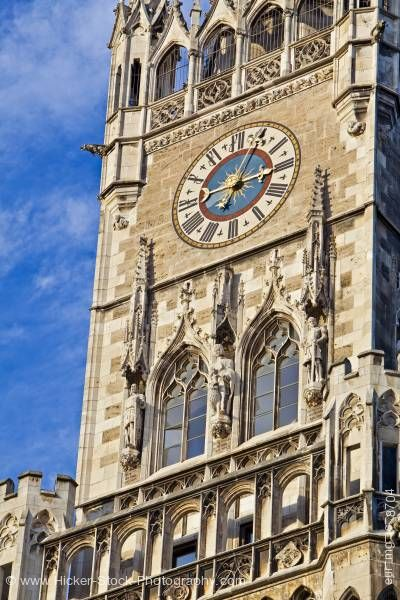 Stock photo of Clock architectural design main tower Neues Rathaus New City Hall Munich